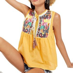 Yellow Tassel Embroidered Babydoll Tank Top M
